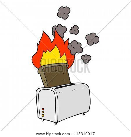 freehand drawn cartoon burnt toast