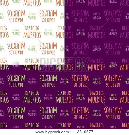 Dia de Muertos - Mexican Day of the death spanish text seamless pattern decoration set