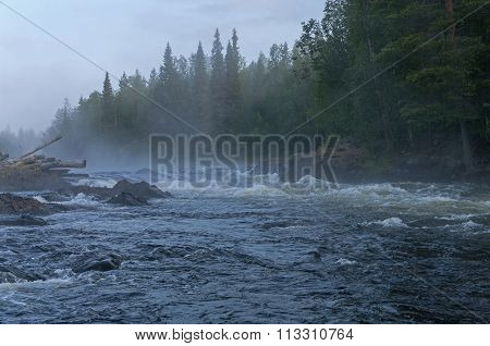 Fog Over Rapids. Early Morning.