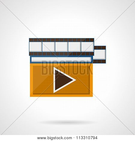 Online video flat color style vector icon