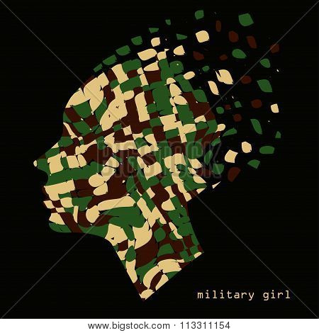 Camouflage military abstract woman portrait pattern background. Vector illustration, EPS