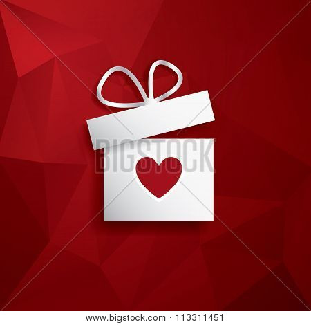 Valentine's day concept illustration with gift box and heart symbol suitable for advertising, promot