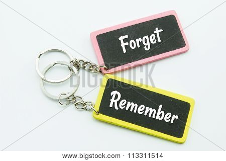 Photo Of Key Bunch With Business Conceptual Words,forget And Remember
