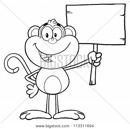 Black And White Smiling Monkey Cartoon Character
