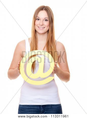 Attractive young woman holding at sign. All on white background.