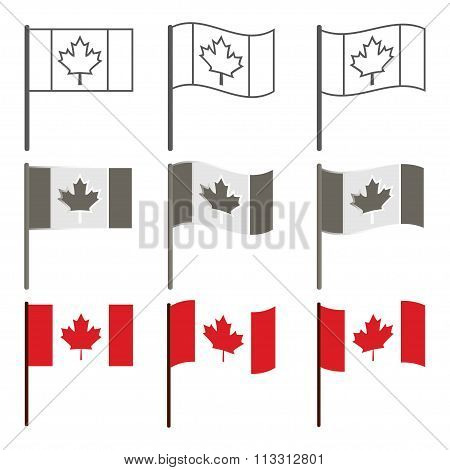 Vector Canadian flag icon set