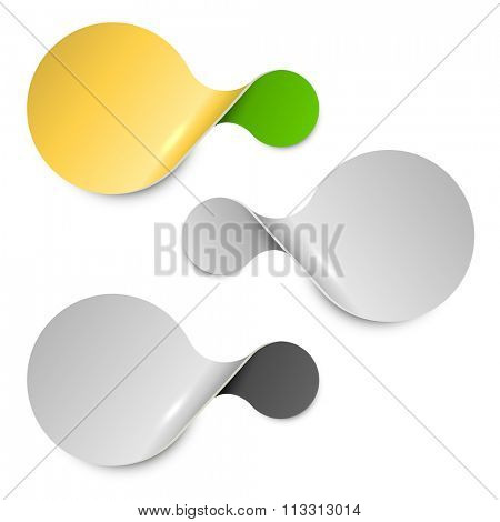 Abstract twisted connected circles label isolated on white background.