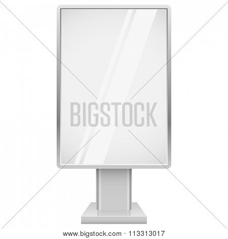 Blank vertical advertising street display vector template isolated on white background.