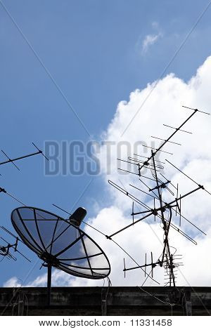 Satellite Dish and radio antenna on top of building, vertical