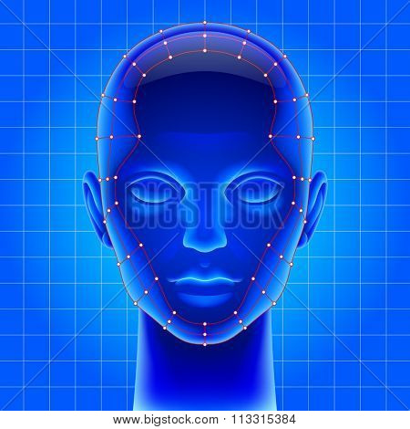 Three dimensional futuristic artificial head with red mesh in blue light as metaphor for high technology . Vector illustration
