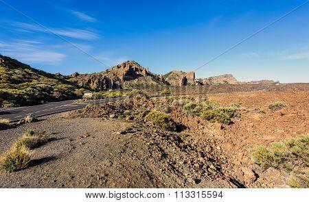 Open road on Tenerife.  Beautiful landscape of Tenerife island, Spain