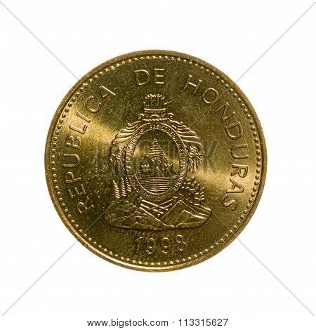 Metal Coins Five Centavos Honduras Isolated On White Background. Top View