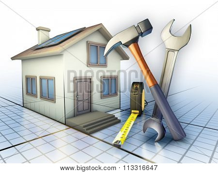 Some tools used for home maintenance works. Digital illustration.