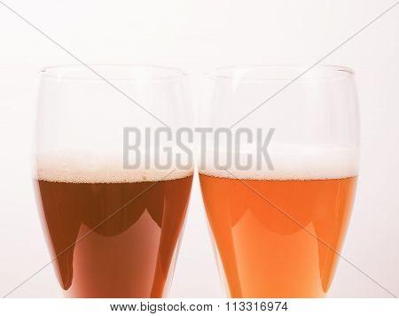 Two Glasses Of German Beer Vintage