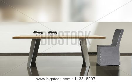 NEW FURNITURE LINE , MODERN DESIGN,  STRAIGHT LINES , ITEMS: TABLE WITH CHAIR . MATERIALS : WOOD, METAL, FABRIC