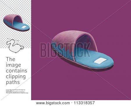 The illustration of a slipper. A part of Dodo collection - a set of educational cards for children. The image has clipping paths and you can cut the image from the background.
