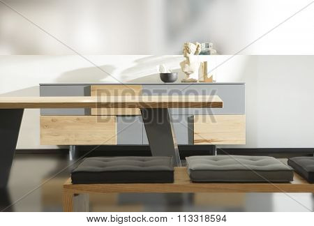 NEW FURNITURE LINE , MODERN DESIGN,  STRAIGHT LINES , MATERIALS : WOOD, METAL, FABRIC . ITEMS : TABLE , RECTANGLE BENCH, DRESSER