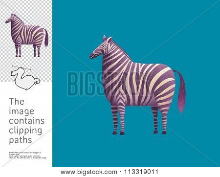 The illustration of a standing zebra.  A part of Dodo collection - a set of educational cards for children. The image has clipping paths and you can cut the image from the background.