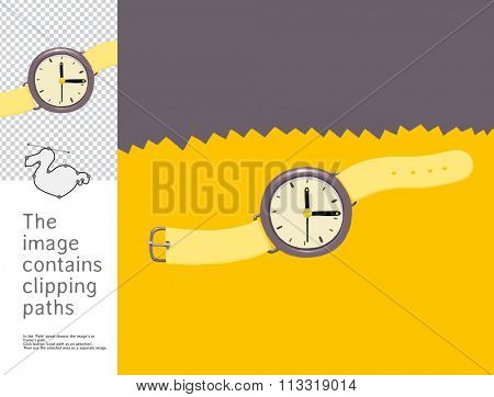 The illustration of analog wristwatch.  A part of Dodo collection - a set of educational cards for children. The image has clipping paths and you can cut the image from the background.