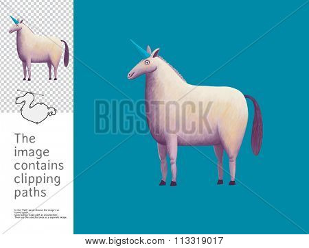 The illustration of a unicorn.  A part of Dodo collection - a set of educational cards for children. The image has clipping paths and you can cut the image from the background.