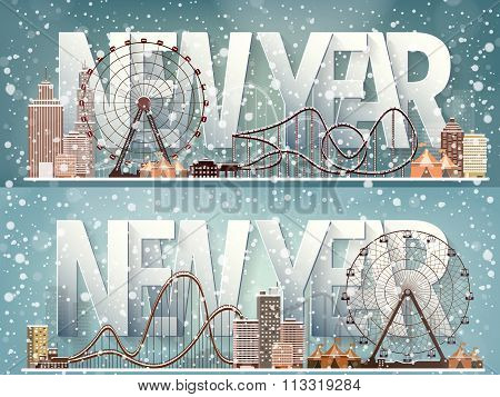 Ferris wheel. Winter carnival. Christmas, new year. Park with snow. Roller coaster.