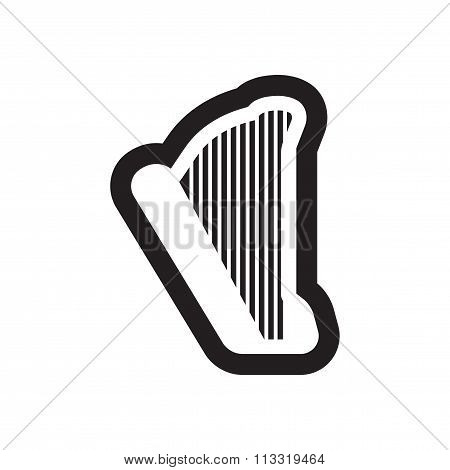 Flat icon in black and white style harp