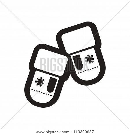 Flat icon in black and white mittens