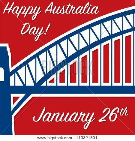 Harbour Bridge Sticker Australia Day Card In Vector Format.