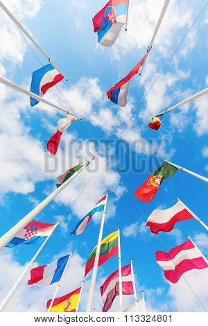 low angle view of European flags in the European district on the Kirchberg Plateau, Luxembourg