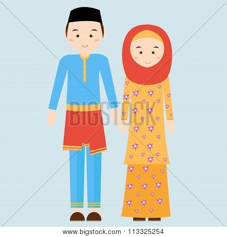 couple man woman wearing brunei islamic traditional costume clothe dress male female vector illustra