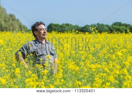 man in field
