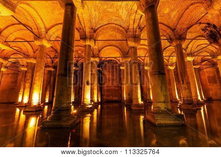 ISTANBUL, TURKEY - APRIL 11, 2015: The Basilica Cistern also called Sunken Palace is the largest of several hundred ancient cisterns in the city, built in the 6th century during the reign of Justinian