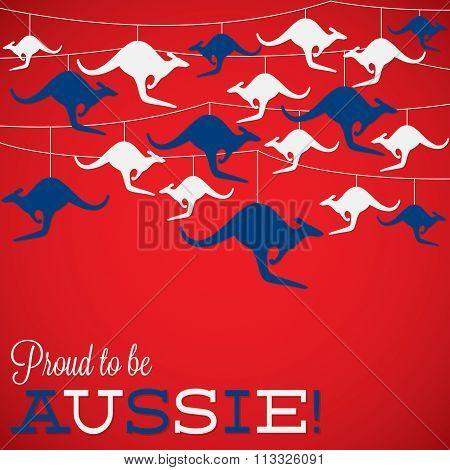Kangaroo Ornament Australia Day Card In Vector Format.