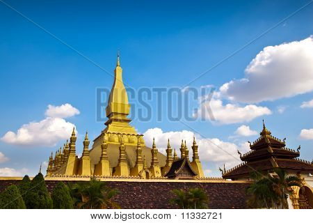 Golden Pagoda At Wat Poechai Loa