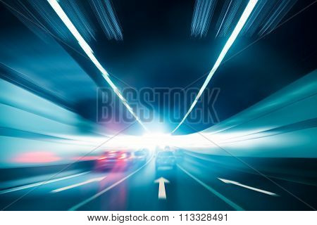Tunnel Background With Exit Light