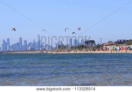 Melbourne beach bathing box Australia cityscape