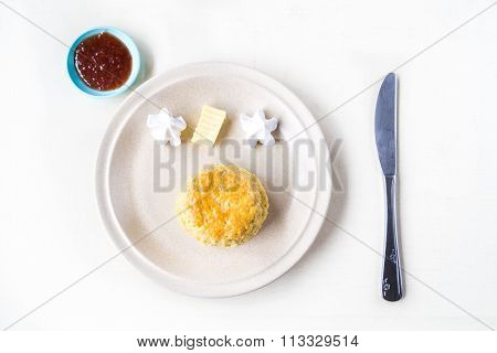 Simple Plain English Scones Set With Butter, Cream, Strawberry Jam