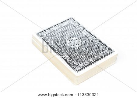 Blue Deck Of Playing Cards Isolated On White Background