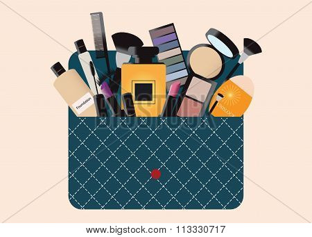 Makeup Cosmetics Bag With Accessories.
