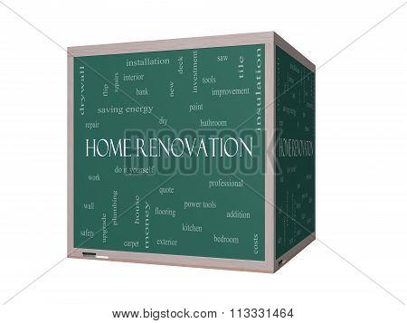 Home Renovation 3D Word Cloud Concept On A Blackboard