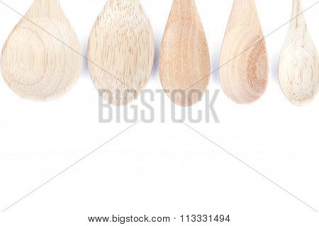 Wooden Kitchen Utensils Isolated On White Background