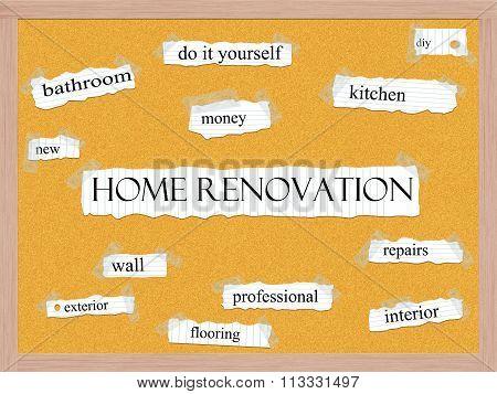 Home Renovation Corkboard Word Concept