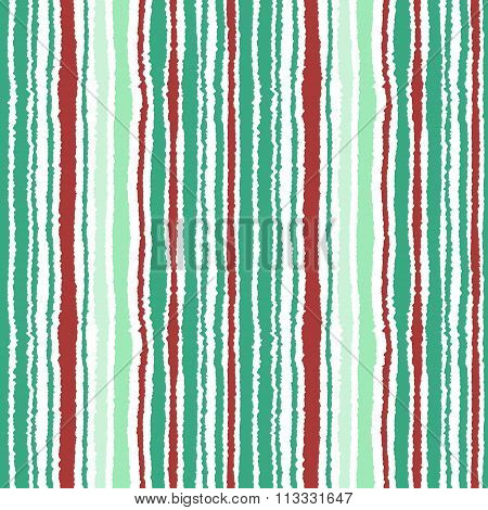 Seamless strip pattern. Vertical lines texture with torn paper effect. Contrast olive, turquoise, vi