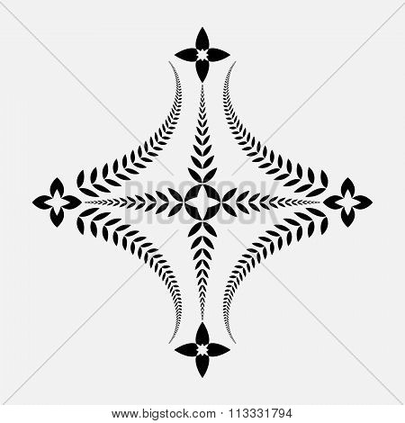 Laurel wreath tattoo icon. Cross sign on white background. Black ornament. Defense, peace, glory sym