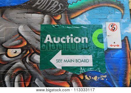 Graffiti street art house action sign Melbourne
