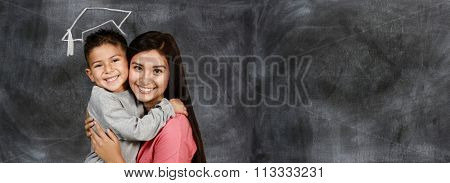 Happy young mother with her son at graduation