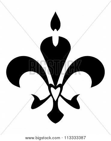 Fleur De Lis Symbol. Isolated On White