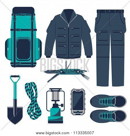 Hiking vector set.