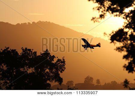 Sunset airplane.