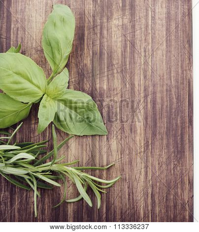 Fresh Herbs on Cutting Board